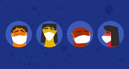 Pandemic concept. Men and women in white medical face mask icons. Friends or family members in prevention masks. 2019-nCoV quarantine.  Epidemic of corona virus. Vector flat illustration.