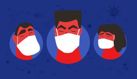 Coronavirus. Men and woman in white medical face mask icons. Friends or family members in prevention masks. 2019-nCoV quarantine. Pandemic of coronavirus. Vector flat illustration.