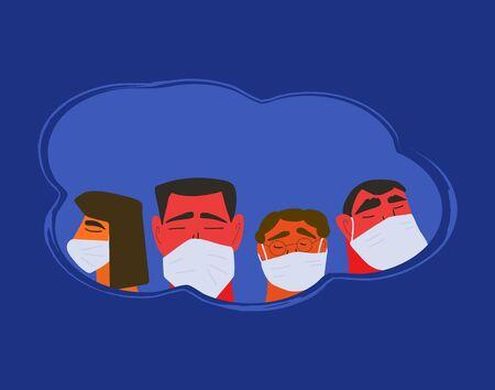 Epidemic quarantine. Men and women in white medical face mask icons. Friends or family members in prevention masks. 2019-nCoV. Pandemic of coronavirus. Vector flat illustration.