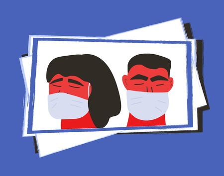 Coronavirus quarantine. Man and woman in white medical face mask icons. Friends or family members in prevention masks. 2019-nCov. Pandemic of coronavirus. Vector flat illustration.