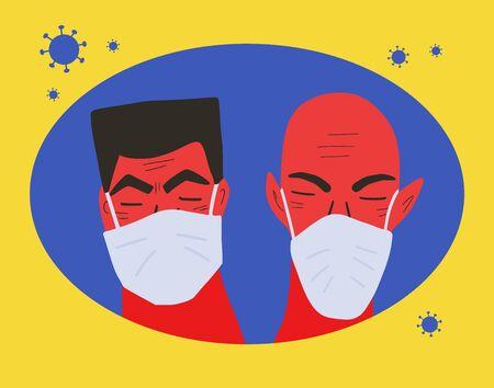 Coronavirus protection concept. Two men in white medical face mask icon. Friends or family members in prevention masks. 2019-nCoV quarantine. Pandemic of coronavirus. Vector flat illustration. Ilustrace
