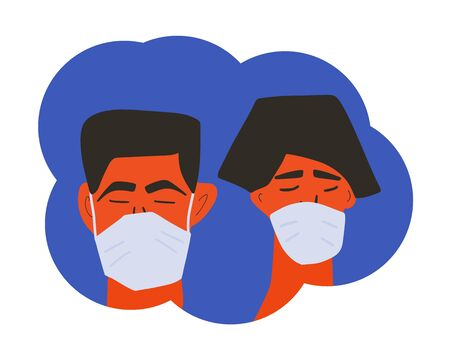 Coronavirus. Man and woman in white medical face mask icons. Friends or family members in prevention masks. 2019-nCoV quarantine. Pandemic of corona virus. Vector flat illustration. Ilustrace