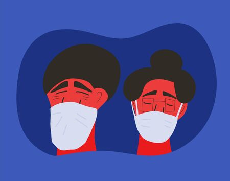 Coronavirus. Man and woman in white medical face mask icons. Friends or family members in prevention masks. 2019-nCoV quarantine. Pandemic of coronavirus. Vector flat illustration. Ilustrace