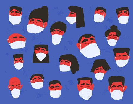 Coronavirus protection concept. Men and women in white medical face mask. Characters in prevention masks. Crowd of people protecting from virus infection. Pandemic of coronavirus. Vector illustration. Ilustrace
