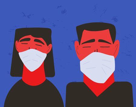 Coronavirus. Man and woman in white medical face mask icons. Friends or family members in prevention masks portrait. 2019-nCoV quarantine. Pandemic of coronavirus. Vector flat illustration. Ilustrace