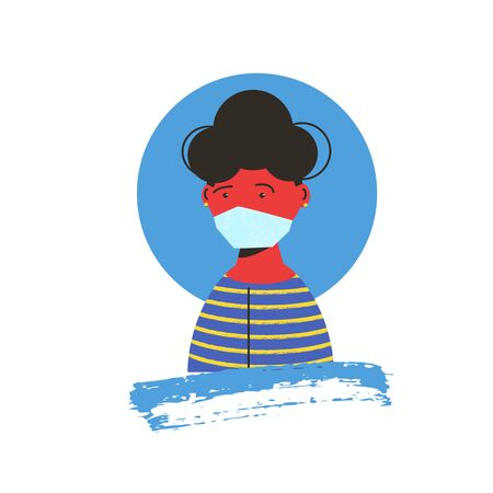 Young woman in white medical face mask icon. Patient in prevention mask. 2019-nCoV quarantine. Pandemic of coronavirus fear. Vector flat illustration.