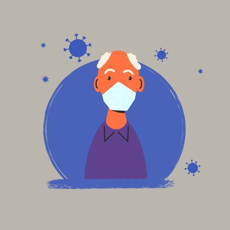 Senior male character protectind from coronavirus or flu. Old man in white medical face mask icon. Patient in prevention mask. 2019-nCoV quarantine. Pandemic of corona virus. Vector flat illustration.