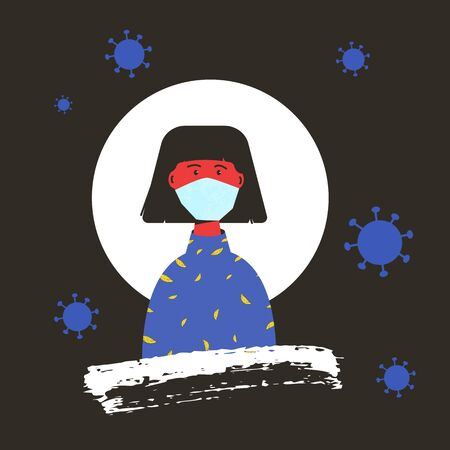 Young woman in white medical face mask. Female patient in prevention mask. 2019-nCoV quarantine. Fear of pandemic of coronavirus. Vector flat illustration.