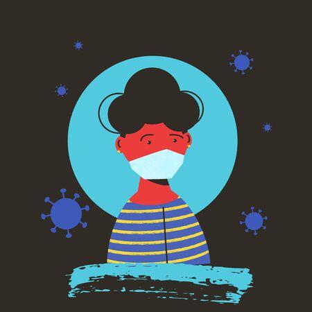 Girl in white medical face mask icon. Female patient in prevention mask. 2019-nCoV quarantine. Pandemic of coronavirus. Vector flat illustration.