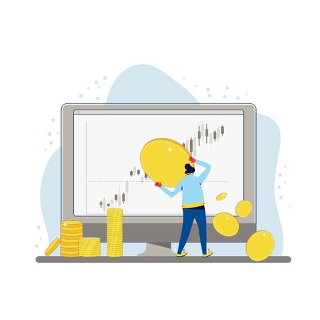 Investment concept. Minor shareholder getting money. Stock market  boom. Growth in equity prices. Tiny man with huge coins and investors graph report on computer screen. Vector flat illustration. Illustration