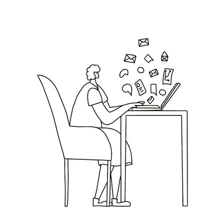 Middle-aged person sitting at laptop and working. Woman freelancers doing their job in her room. Senior lady browsing on internet. Vector flat illustration.