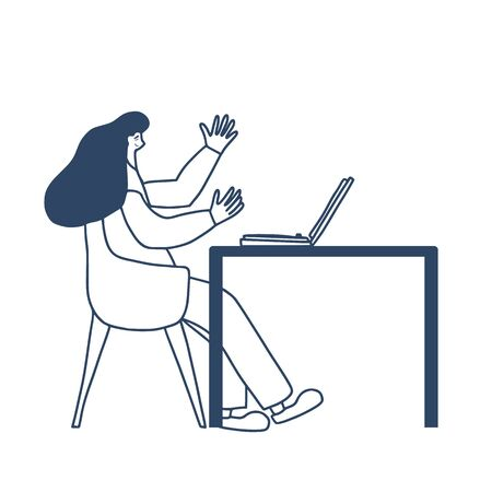 Cute person sitting at the table and reading news. Female character using her laptop. Woman wearing in casual clothes working with computer. Freelancer concept. Vector illustration.