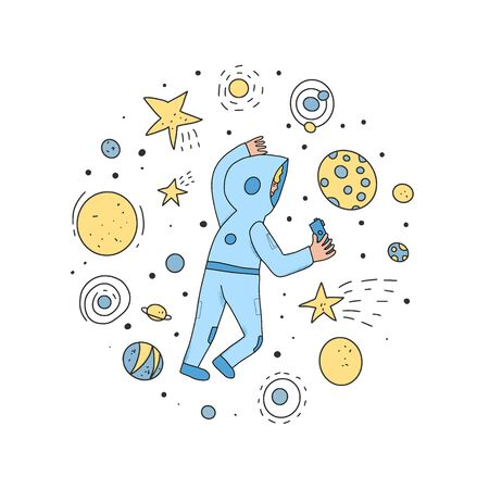 Space tourism concent. Astronaut dressed in helmet and suit in an open space. Cosmonauts floating in universe surrounded stars. Round composition. Vector illustartion.