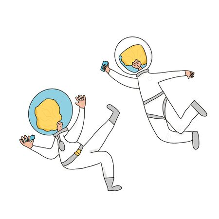 Two astronauts dressed in helmet and suit isolated on white background. Couple of cosmonauts floating in universe. Spacemen holding their phones in hands. Vector illustartion in doodle style. Иллюстрация