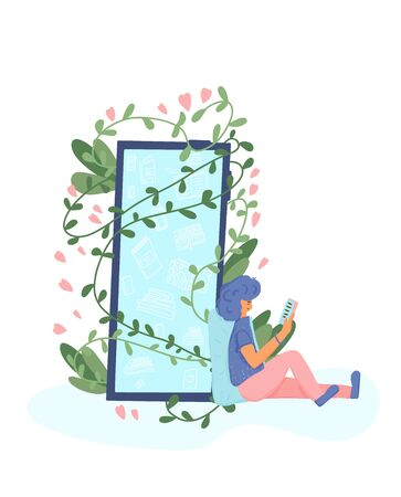 Handsome boy sitting and reading an electronic book near the huge phone with climbing plant. Young man wearing in casual clothes leaning on a pillow and leafing a literature. Vector flat illustration. Ilustração