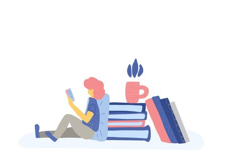 Teenager sitting and using a phone. Young man leaning on a pillow and reading an electronic books. Boy with huge stack of books. Vector concept illustration in flat style. Ilustração