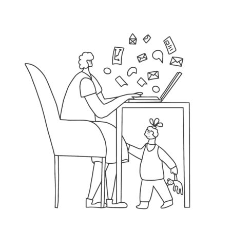 Young mom sitting and working on computer at home with her kid. Freelancer doing her job with her daughter under table. Woman with little girl. Mother and child lifestyle. Vector illustration.
