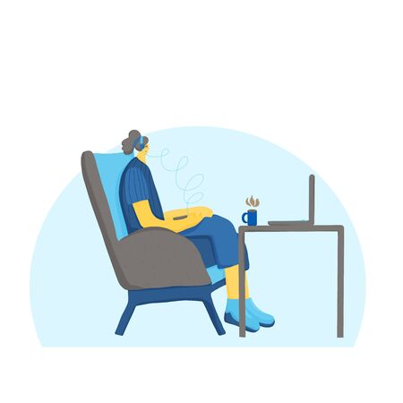 Online education. Webinar. Female character  sitting in comfy chair in headphones and listening lecture. Girl wearing in casual clothes drinking a coffee and taking a class. Vector illustration.