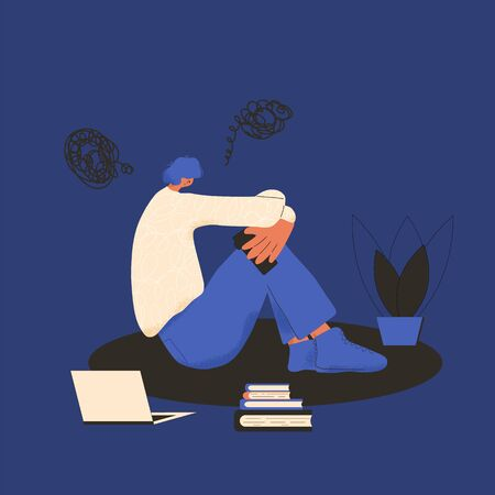 Young man sitting on the floor with smartphone in his hand. Male character waiting a phone call. Stressed teenage boy with bad mood. Tired student after preparing for examination. Vector flat illustration. Иллюстрация