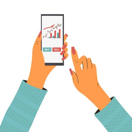 Invest in the company's bonds with phone. Minor shareholder going to buy or sell some bond. Stock market app. Woman with mobile. Vector flat color illustration.  イラスト・ベクター素材