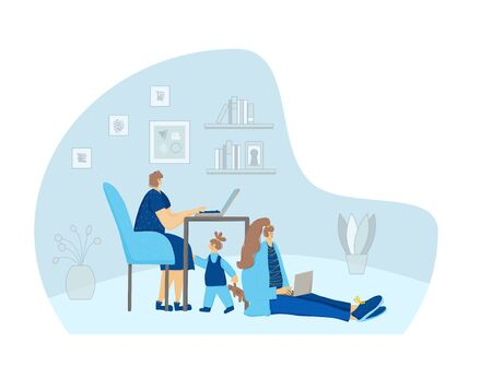 Family spend time together at home with gadgets. Female freelancer doing her job and daughter under table. Vector flat illustration. Иллюстрация
