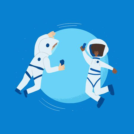 Two astronauts dressed in helmet and suit near a big blue planet. Couple of cosmonauts floating in universe. Spacemen holding their phones in hands and taking a picture. Vector flat illustartion.