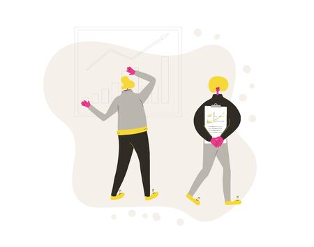 Financial advisor and analyst concept. Minor shareholders getting money. Stock market  boom. Growth in equity prices. People with graph, advisors reports. Vector flat illustration.
