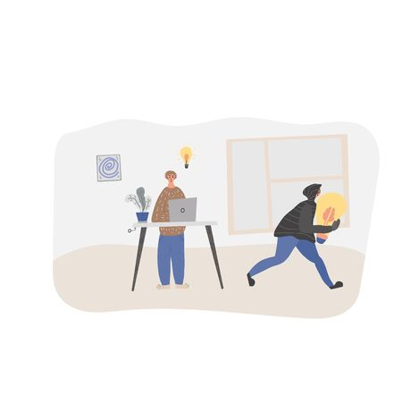 Plagiarism concept, infringement of copyright. Young man creating an idea and pirate stealing it scene. Thief  in the hood and mask running away with a bulb in his hands. Vector flat illustration.