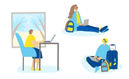 Digital nomads concept. Smiling persons sitting at laptop and working. Young freelancers doing their job in different places. Man and two women browsing on internet. Vector flat illustration. Иллюстрация