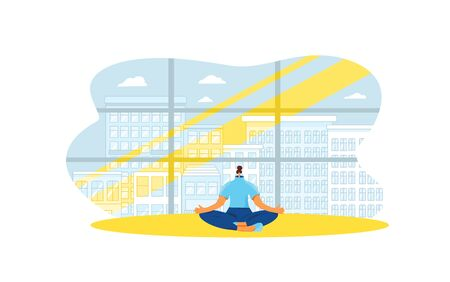 Coping with stress concept. Young woman sitting in yoga lotus pose and meditation near big window. Relaxation. Well-balanced person have a break to fix her emotions. Vector flat illustration.