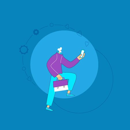 Social media addiction concept. White-haired person holding smartphone in his hand. Work life balance. Young  Bearded mature man with case and phone. Vector illustration. Иллюстрация