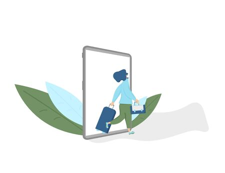 Online flight ticket booking. Female traveler going to her flight with luggage. Vector flat person with suitecase. Ilustrace