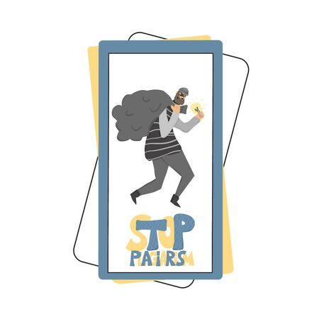 Stop plagiarism concept, infringement of copyright. Person stealing an idea metaphor. Thief running away with a light bulb in his hands on phone screen. Intellectual property save. Vector flat illustration.