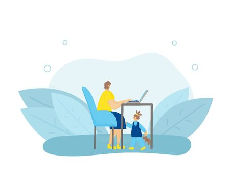 Young mom sitting at desk and working on computer at home with her kid. Female freelancer doing her job and daughter under table. Woman browsing on internet with little girl. Vector flat illustration.