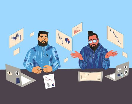 Financial advisors or analists. Two men sitting surrounded by investment graphs and talking about world recession. Male persons have a conversation about risk of invest in the company's bonds. Vector