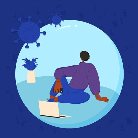 Young woman sitting on the floor with laptop isolated. Coronavirus protection. Ddistance communication. Social distancing and self-isolation during coronavirus quarantine. Vector illustration.