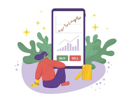Investment profit. Invest application. Young woman sitting on the floor and want to buy or sell company's bonds. Stock market  boom. Grow in equity prices. Vector flat illustration.  イラスト・ベクター素材