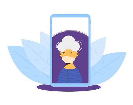 Video call. Mature woman on phone screen talking with her family. Female senior person in medical mask. Social distancing and self-isolation during coronavirus quarantine. Vector color flat illustration.