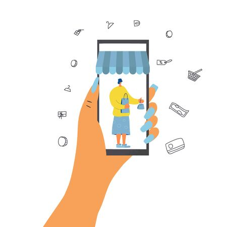 Online shopping. Human hand holding a phone. Smartphone with woman on screen isolated on white background. Vector flat color illustration.