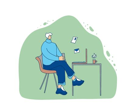 Middle-aged person sitting at laptop and working. Male freelancers doing their job in his room. Senior man browsing on internet. Vector flat illustration. Иллюстрация