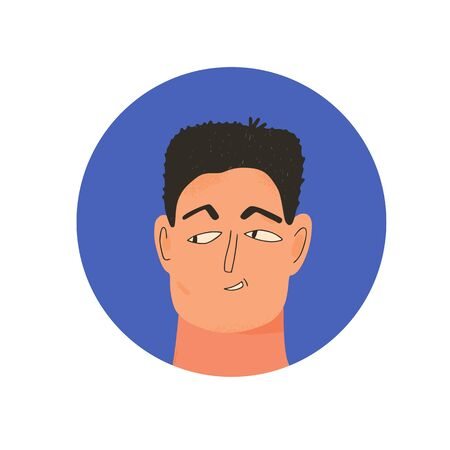 Male avatar icon. Face of boy. Mans head in round emblem. Vector flat illustration.