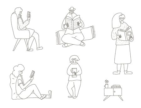 Set of book lovers isolated on white background. Collection of male and female persons  holding a books. Vector illustration in doodle style. Иллюстрация