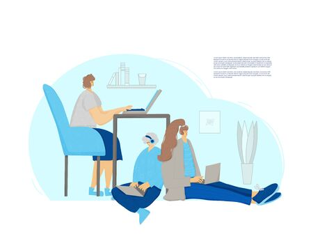Family spend time together at home with computers. Young people working with laptops. Students preparing for examination. Vector flat illustration.
