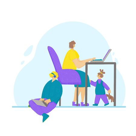 Family spend time together at home with gadgets. Young  freelancers doing their job and daughter under table. Parents don't pay attention to their child. Vector flat illustration. Vectores
