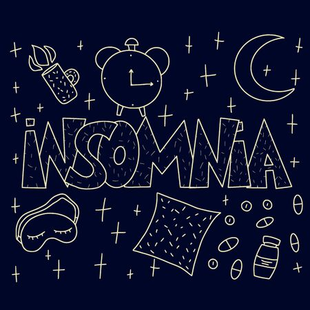 Insomnia poster in doodle style. Hand drawn text and night symbols:  mask, moon, stars, pillow, alarm clock, pills. Trouble sleeping banner. Vector dark illustration. Фото со стока - 147278378