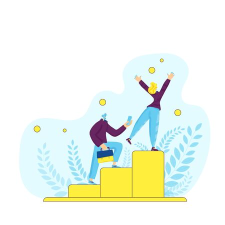 Career development concept. Two persons running up stairs.  Business people new generation. Coworkers climbing up career ladder. Employment hierarchy. Vector flat.
