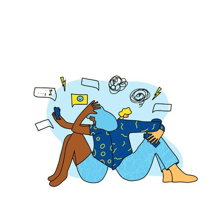 Bad relationship. Young married couple sending a messages to each other. Two friend sitting turned their backs to each other on the floor with bad mood because they had a fight. Vector illustration. Фото со стока - 147278255