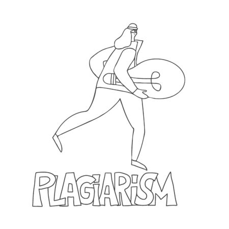 Plagiarism concept, infringement of copyright. Person in  mask stealing an idea metaphor. Female thief running away with a light bulb in her hands. Intellectual property. Vector doodle illustration. Ilustração