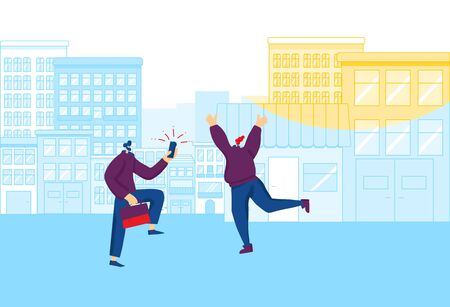 Bleisure concept. Couple of coworkers have fun outdoors after work. Young woman jumping up and dpwn with joy and bearded man take a her picture with his smartphone. Vector flat illustration.