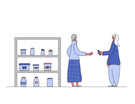 Local retail business concept. Corner shop. Female person dressed in casual clothes byuing a hand made goods. Flea market. Vector illustration.